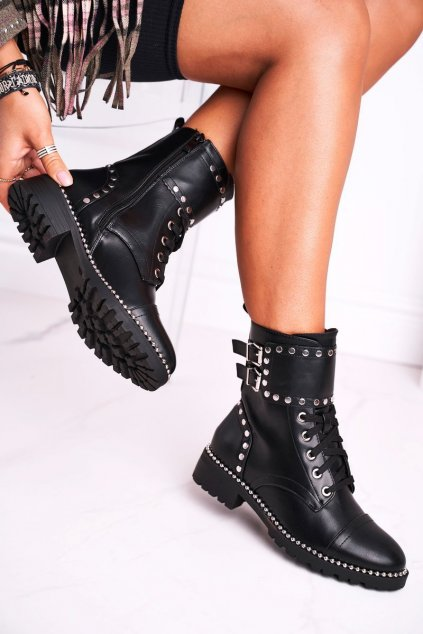Členkové topánky na podpätku farba čierna kód obuvi 8303 BLK