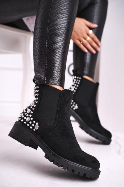 Členkové topánky na podpätku farba čierna kód obuvi 1572 BLK