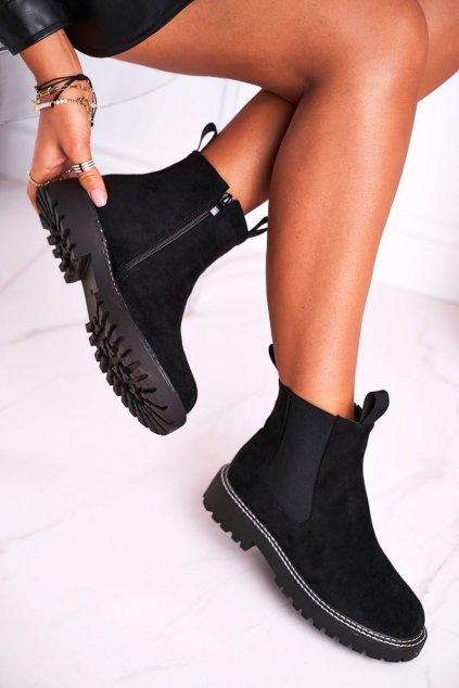 Členkové topánky na podpätku farba čierna kód obuvi 1979-1 BLK