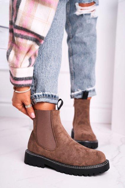 Členkové topánky na podpätku farba hnedá kód obuvi 1979-1 KHAKI