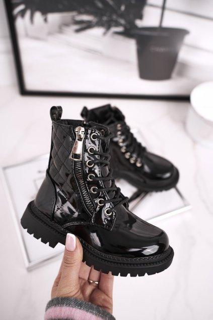 Detské členkové topánky farba čierna kód obuvi 7344-B BLK