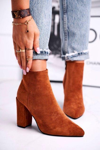 Členkové topánky na podpätku farba hnedá kód obuvi S0-27 CAMEL