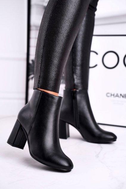Členkové topánky na podpätku farba čierna kód obuvi 520-1 BLK