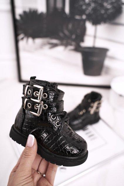 Detské členkové topánky farba čierna kód obuvi 7335-B BLK