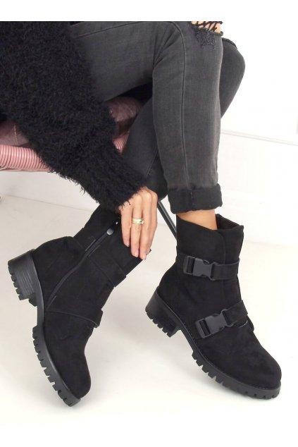 Dámske členkové topánky čierne na širokom podpätku 0-358