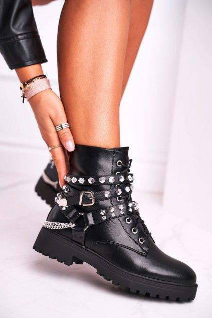 Členkové topánky na podpätku farba čierna kód obuvi HB-05 BLK