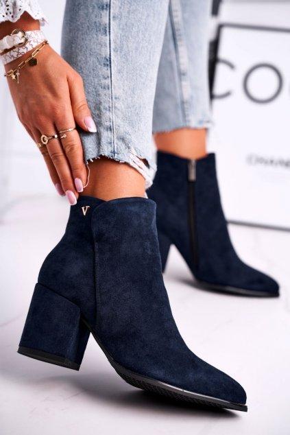 Členkové topánky na podpätku farba modrá kód obuvi 21-10555 NAVY