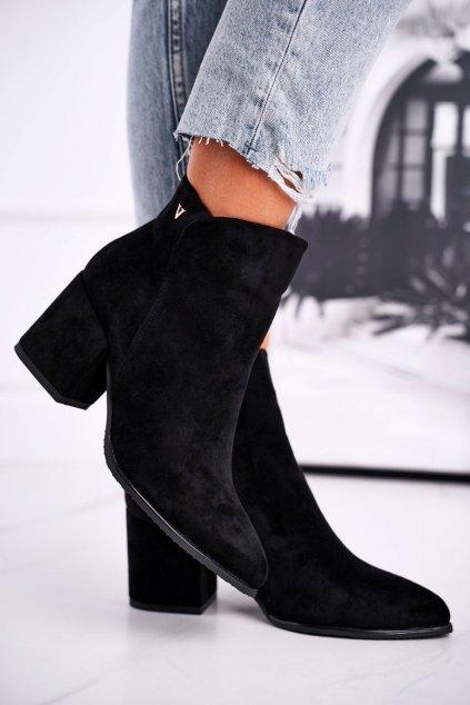 Členkové topánky na podpätku farba čierna kód obuvi 21-10555 BLK