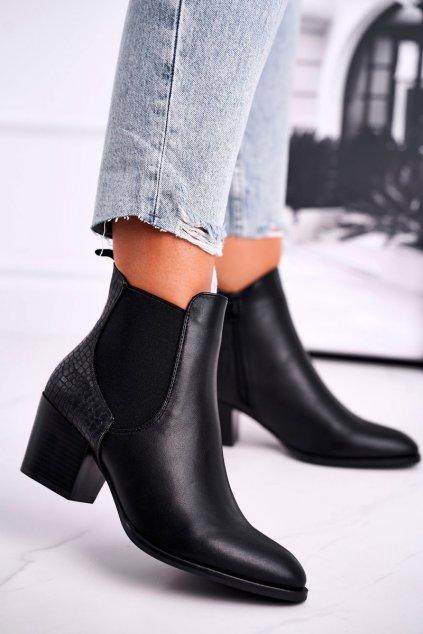 Členkové topánky na podpätku farba čierna kód obuvi BT613 BLK PU