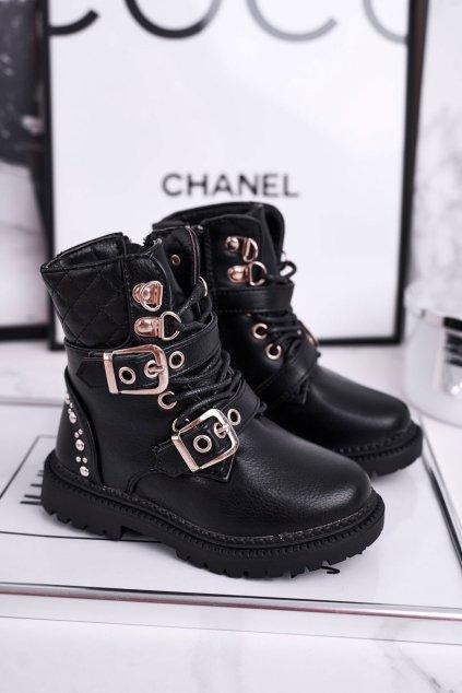 Detské členkové topánky farba čierna kód obuvi 7340-A BLK PU