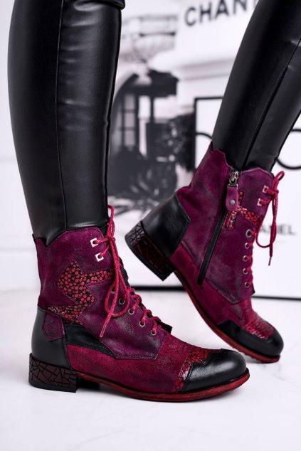Členkové topánky na podpätku farba červená kód obuvi 04625-23/00-3 BORDO