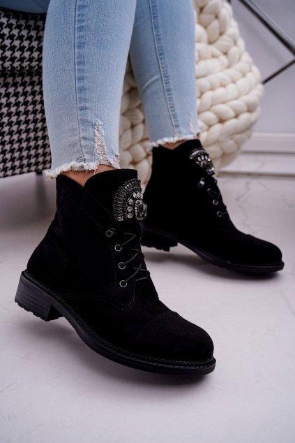 Členkové topánky na podpätku farba čierna kód obuvi E9315 BLK