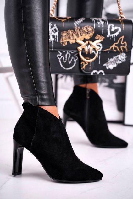 Členkové topánky na podpätku farba čierna kód obuvi 2200 BLK 300