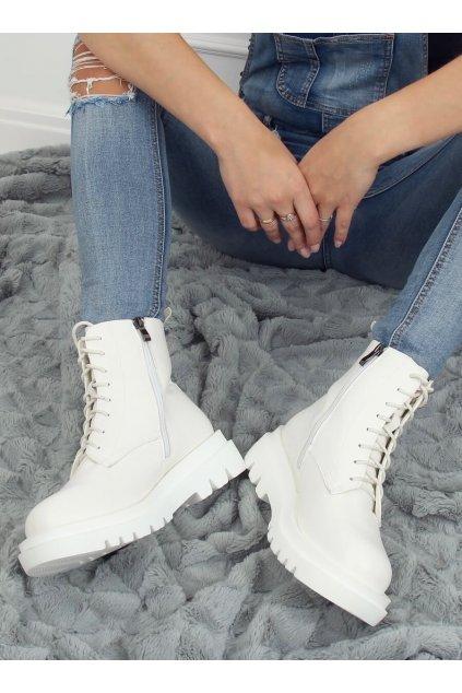 Dámske členkové topánky biele na plochom podpätku ID01