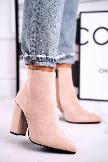 Členkové topánky na podpätku farba hnedá kód obuvi S0-27 BEIGE