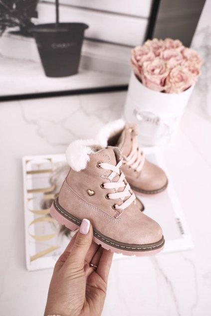 Detské členkové topánky farba ružová kód obuvi 20DZ23-3172 PINK