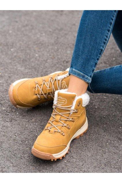 Hnedé dámske trekové topánky Ax boxing kod BM9113-8Y