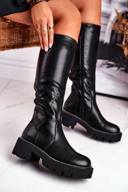 Dámske čižmy farba čierna kód obuvi 6203 BLK