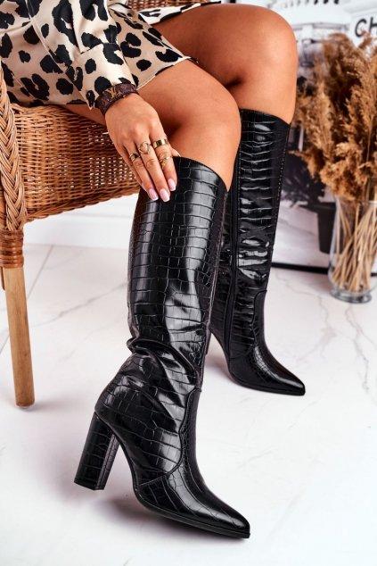 Dámske čižmy farba čierna kód obuvi E-9328 BLK