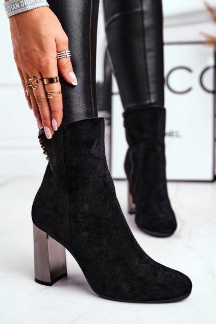 Členkové topánky na podpätku farba čierna kód obuvi 7661-GA BLK
