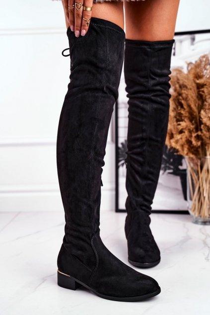 Dámske čižmy farba čierna kód obuvi F166 BLK