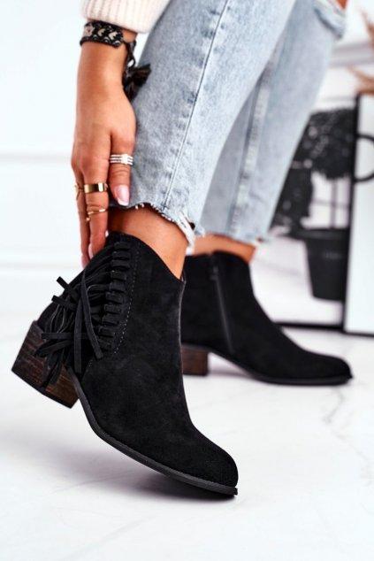 Členkové topánky na podpätku farba čierna kód obuvi 9475Y BLK