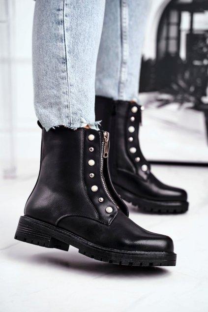Členkové topánky na podpätku farba čierna kód obuvi X9124 BLK