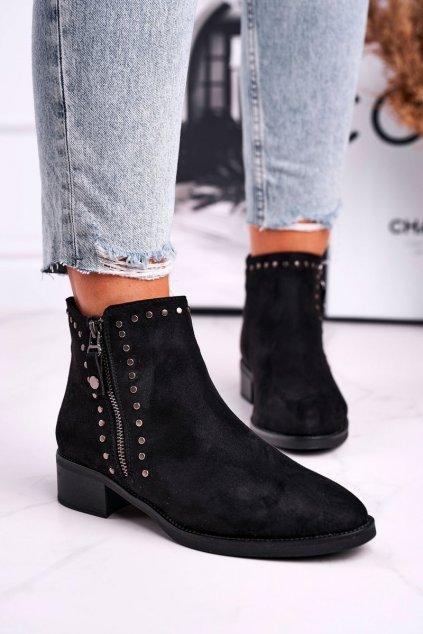 Členkové topánky na podpätku farba čierna kód obuvi 5637 BLK