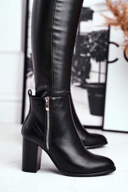 Členkové topánky na podpätku farba čierna kód obuvi 688-A21 BLK