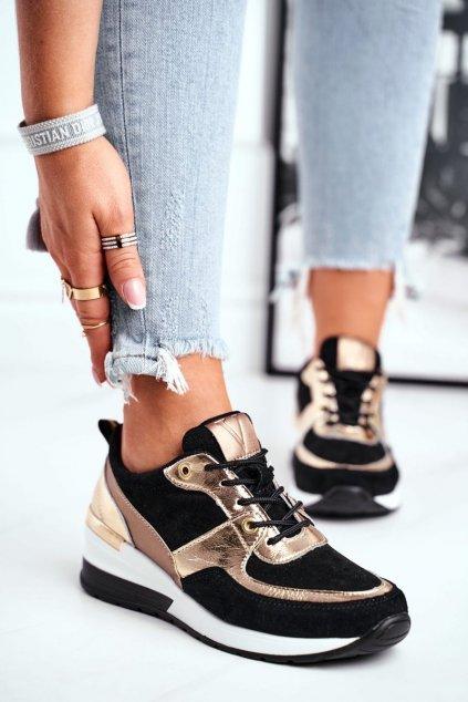 Dámske tenisky farba čierna kód obuvi 21-7777 BLK/GOLD