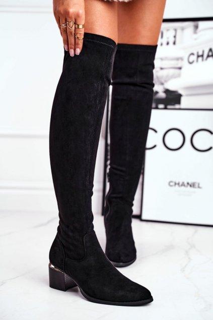 Dámske čižmy farba čierna kód obuvi 20KZ35-3330 BLK