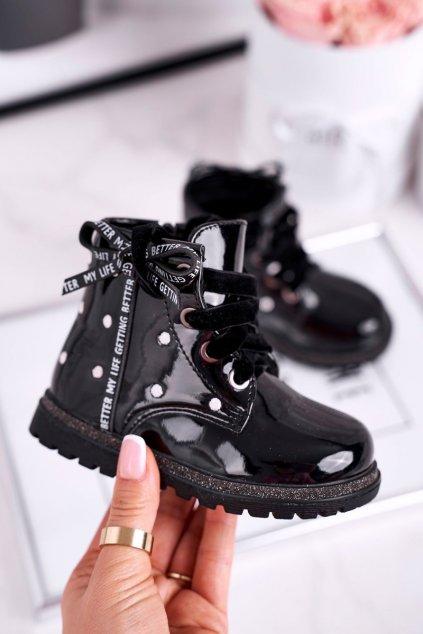 Detské členkové topánky farba čierna kód obuvi 20DZ60-3246 BLK