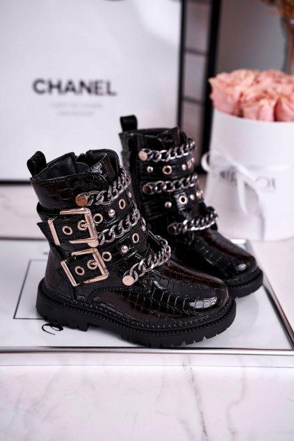 Detské členkové topánky farba čierna kód obuvi 7341-B BLK