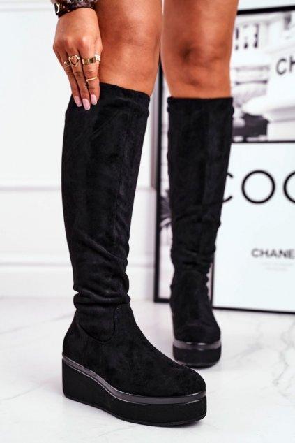 Dámske čižmy farba čierna kód obuvi BT732 BLK MIC