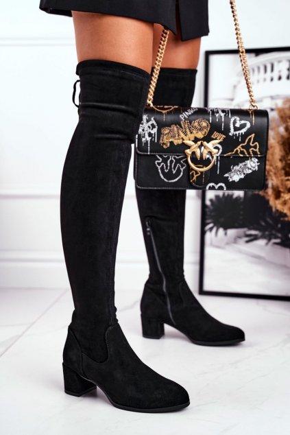 Dámske čižmy farba čierna kód obuvi KZ281 BLK LYCRA