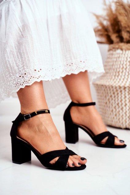 Dámske sandále na podpätku farba čierna NJSK 1-124 BLACK