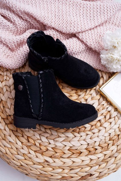 Detské členkové topánky farba čierna NJSK KID065 BLK