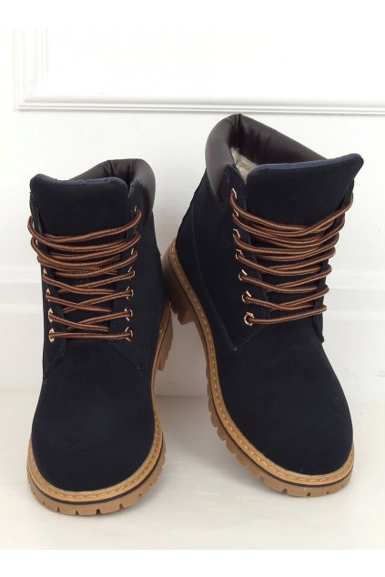 Dámske členkové topánky modré na plochom podpätku B175-22