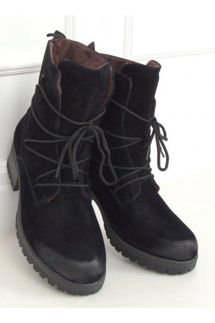 Dámske členkové topánky čierne na širokom podpätku K1936104