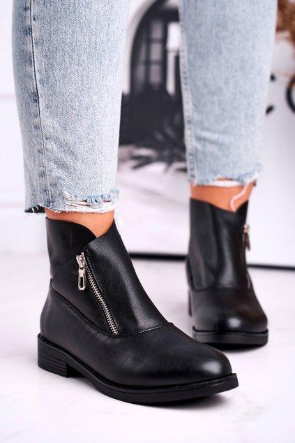 Členkové topánky na podpätku farba čierna kód obuvi 20195-1 BLK