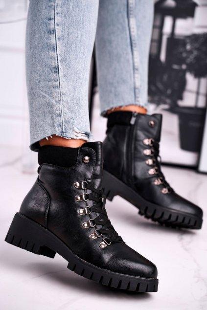 Členkové topánky na podpätku farba čierna kód obuvi 1424 BLK