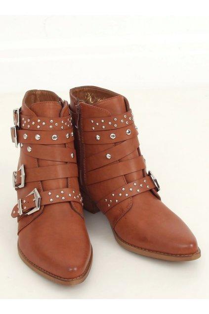 Dámske členkové topánky hnedé na širokom podpätku CK568