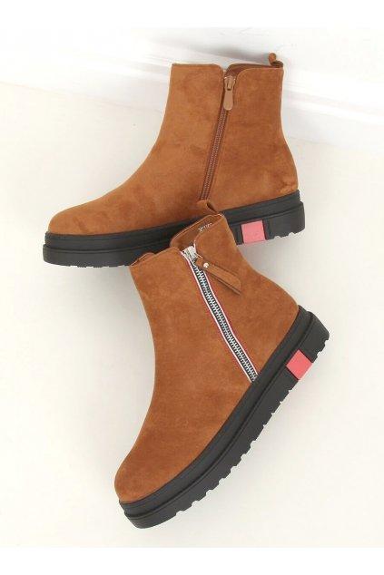 Dámske členkové topánky hnedé na plochom podpätku NS150P