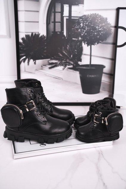 Detské členkové topánky farba čierna kód obuvi 7350-A BLK