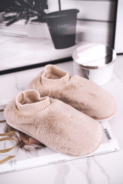 Dámske šľapky farba hnedá kód obuvi E111 BEIGE