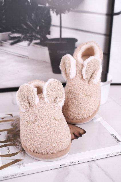 Dámske šľapky farba hnedá kód obuvi E113 BEIGE