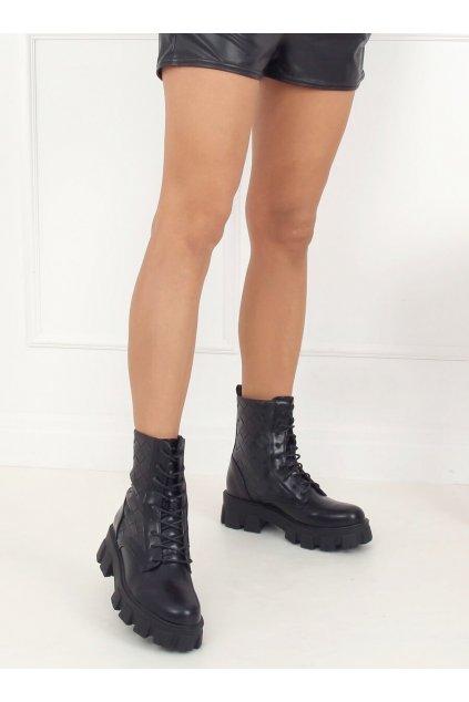 Dámske členkové topánky čierne na plochom podpätku NC1113