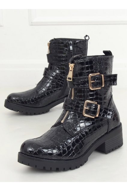 Dámske členkové topánky čierne na širokom podpätku SP74-1