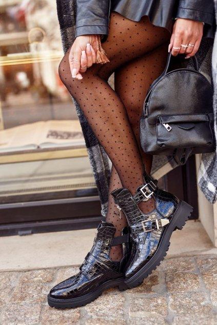 Členkové topánky na podpätku farba čierna kód obuvi 16047-30C BLK STONE