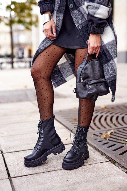 Členkové topánky na podpätku farba čierna kód obuvi HX18 BLACK